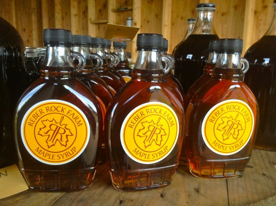 Bottles of delicious Reber Rock Farm syrup (Credit: Racey Bingham)
