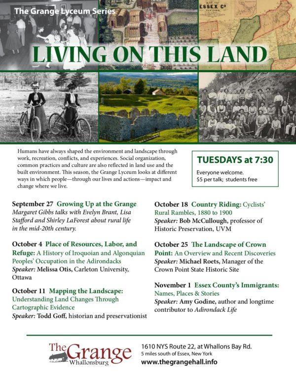 "Fall 2016 Grange Lyceum Series: ""Living on This Land"""